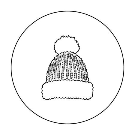 Icône de bonnet en tricot dans le style de contour isolé sur fond blanc. Station de ski symbole illustration vectorielle stock
