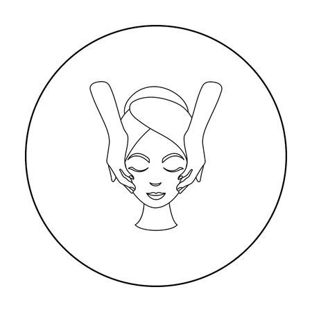 girl  care: Facial massage icon in outline style isolated on white background. Skin care symbol stock vector illustration.