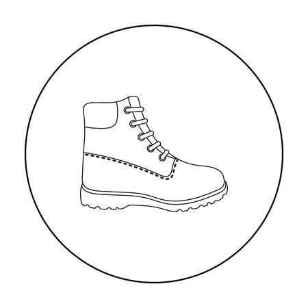 Icono de botas de senderismo en estilo de contorno aislado sobre fondo blanco. Zapatos símbolo stock ilustración vectorial.