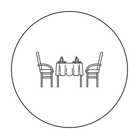 dinner date: Restaurant table icon in outline style isolated on white background. Restaurant symbol stock vector illustration.