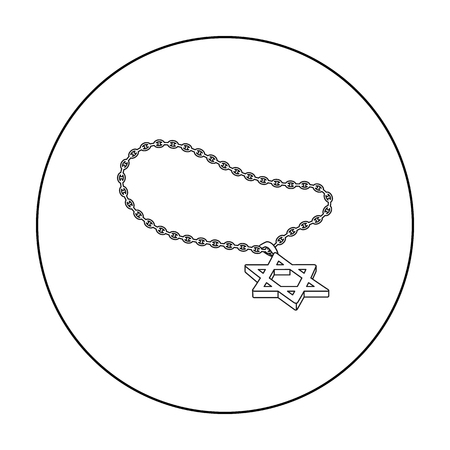 lavaliere: Star of David icon in outline style isolated on white background. Religion symbol stock vector illustration.