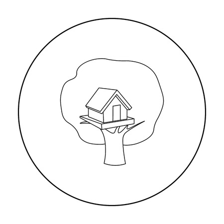 front or back yard: Tree house icon in outline style isolated on white background. Play garden symbol stock vector illustration.