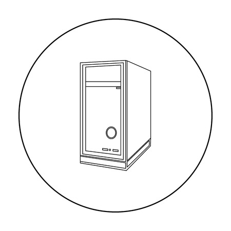 System unit icon in outline style isolated on white background. Personal computer symbol vector illustration. Illustration