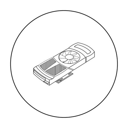 dvi: Video card icon in outline style isolated on white background. Personal computer symbol vector illustration.