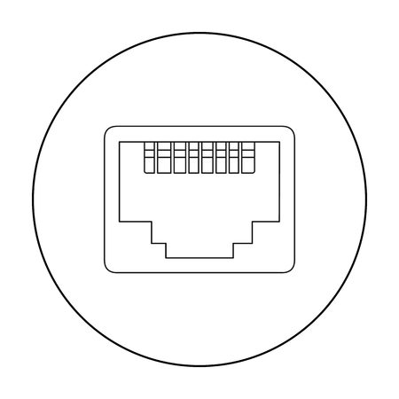 Lan Port Icon In Outline Style Isolated On White Background