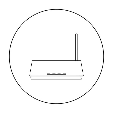 hub computer: Router icon in outline style isolated on white background. Personal computer symbol vector illustration.