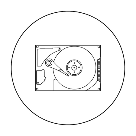 hard: Hard disk icon in outline style isolated on white background. Personal computer symbol vector illustration.