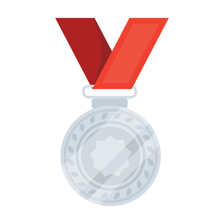 Silver medal on a red ribbon.The award for second place in the competition .Awards and trophies single icon in cartoon style vector symbol stock illustration. Illustration