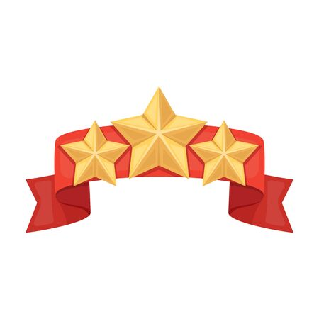 detention: Red ribbon with three stars.Reward a police officer for detention of the criminal.Awards and trophies single icon in cartoon style vector symbol stock illustration.