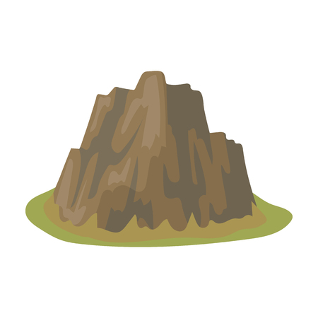 High steep mountain with grass the dark colors with sharp spikes.Different mountains single icon in cartoon style vector symbol stock illustration. Illustration