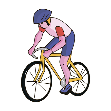 An athlete with a helmet riding his bike on the field.Cycling.Olympic sports single icon in cartoon style vector symbol stock illustration.