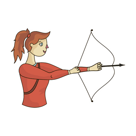ic: A girl stands in profile and holds the bow.Shooting a bow at a target.Olympic sports single icon in cartoon style vector symbol stock illustration.