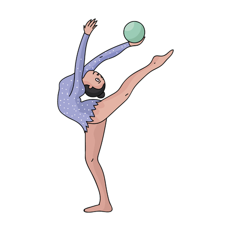 Skinny girl with ball in hand dancing sports dance. The girl is engaged in gymnastics. sports single icon in cartoon style vector symbol stock illustration.