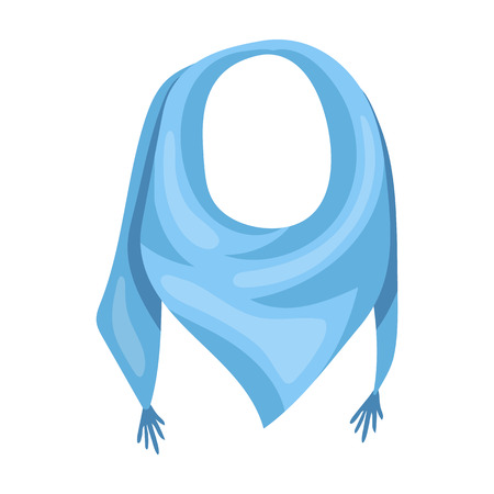 blue summer bandana from the sun.Bandana with knots on the ends.Scarves and shawls single icon in cartoon style vector symbol stock illustration.