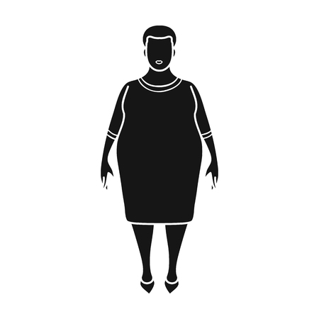 Fat woman in a red dress.A fat woman because of diabetes.Diabetes single icon in black style vector symbol stock illustration.