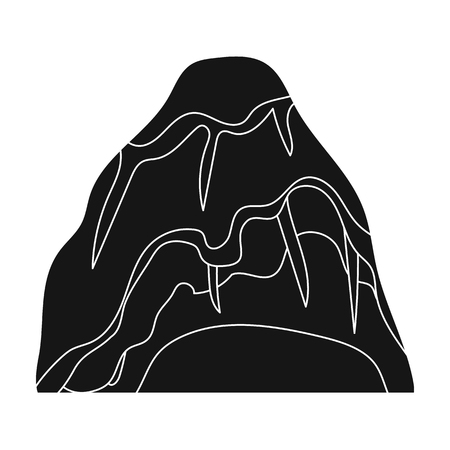 mined: Gray stone mountain. A mountain in which mined minerals.Different mountains single icon in black style vector symbol stock illustration. Illustration