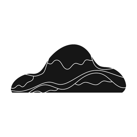 cobble: Low brown sand mountain.Different mountains single icon in black style vector symbol stock illustration.