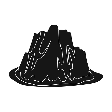 cobble: High steep mountain with grass the dark colors with sharp spikes.Different mountains single icon in black style vector symbol stock illustration.