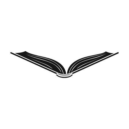 read magazine: Opened book icon in black style isolated on white background. Books symbol stock vector illustration. Illustration