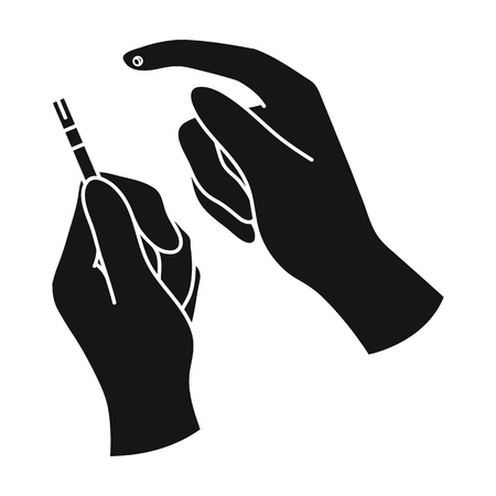 test probe: Test for quick measurement of blood sugar on a strip of paper.Diabetes single icon in black style vector symbol stock illustration.