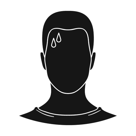 A sweaty man.The man is sweating from diabetes.Diabetes single icon in black style vector symbol stock illustration.