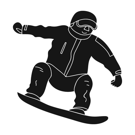 The athlete with the blue jacket and red pants on a snowboard.Snowboarder at the actives.active sports single icon in black style vector symbol stock illustration.