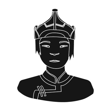mongols: The Mongols in the helmet.Mongolian national protection.Mongolia single icon in black style vector symbol stock illustration.
