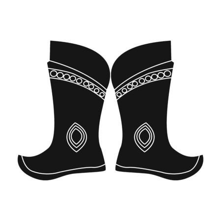mongols: Military boots of the Mongols.part of the national dress of Mongolia.Mongolia single icon in black style vector symbol stock illustration. Illustration