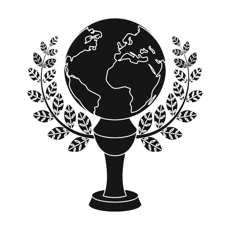 Golden planet with a wreath.The trophy for the best film about the Earth.Movie awards single icon in black style vector symbol stock illustration. Illustration