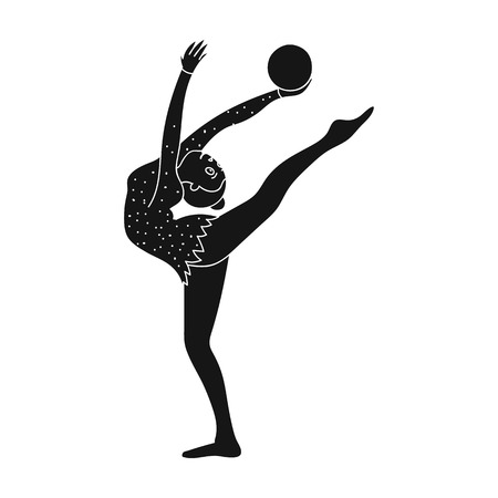 Skinny girl with ball in hand dancing sports dance. The girl is engaged in gymnastics.active sports single icon in black style vector symbol stock illustration.