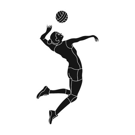 De hoge atleet speelt volleyball. De speler werpt de bal binnen actieve sporten enig pictogram in zwarte de voorraadillustratie van het stijl vectorsymbool. Stockfoto - 73301114