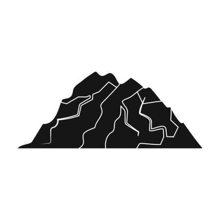 Montaña de hielo todas las grietas. La montaña de la cual icebergs. Diversas montañas solo icono en estilo negro vector símbolo stock de ilustración.