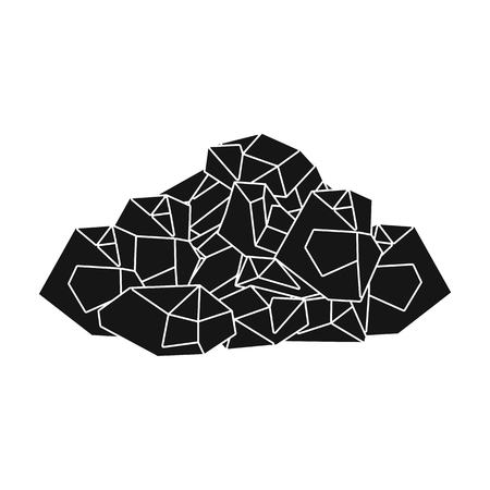 Black minerals from the mine.Coal, which is mined in the mine.Mine Industry single icon in black style vector symbol stock illustration.