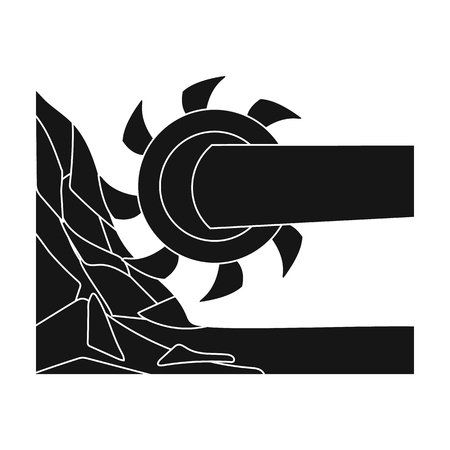 Large cutting wheel. Machine for extraction of minerals.Mine Industry single icon in black style vector symbol stock illustration.