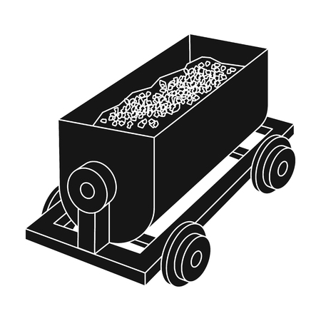 The red cart on wheels for lifts minerals from deep mines.Mine Industry single icon in black style vector symbol stock illustration.