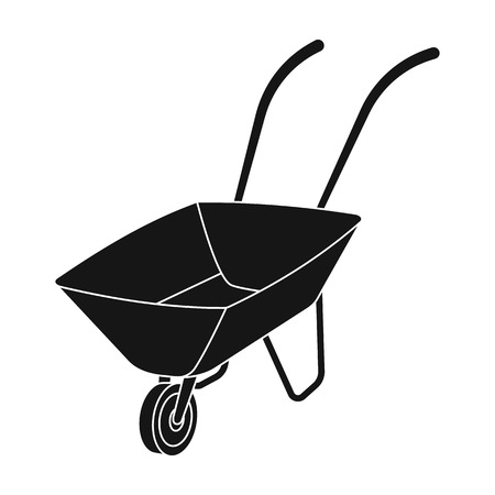 Green cart with wheel and handles. The means of transportation of small cargoes on the territory of the mines.Mine Industry single icon in black style vector symbol stock illustration.
