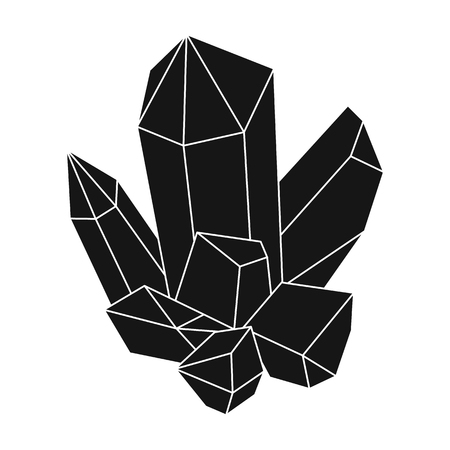 Blue mineral.Crystal, which is a towns produced in the mine.Mine Industry single icon in black style vector symbol stock illustration.