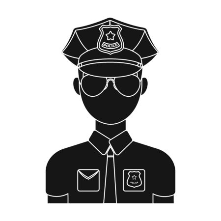 Police officer icon in black style isolated on white background. Police symbol stock vector illustration. Illustration