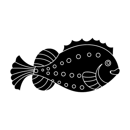 Sea fish icon in black style isolated on white background. Sea animals symbol stock vector illustration. Ilustrace