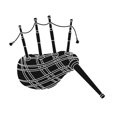 Scottish bagpipes icon in black style isolated on white background. Scotland country symbol stock vector illustration.