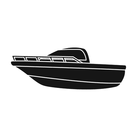 Blue metal boat.Police boat.A means of transportation on water.Ship and water transport single icon in black style vector symbol stock illustration. Ilustração