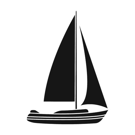 sailingboat: Sailboat for sailing.Boat to compete in sailing.Ship and water transport single icon in black style vector symbol stock illustration.
