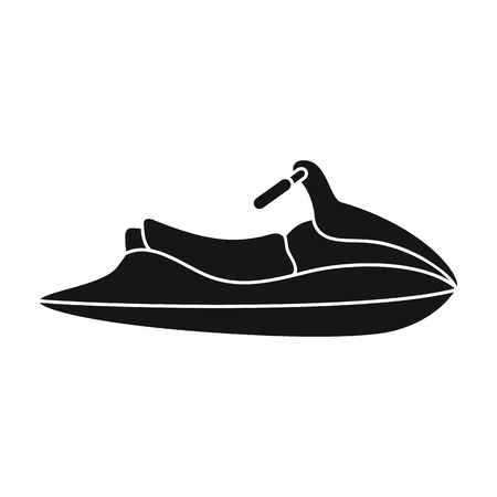 motorboat: Water scooter for entertainment.Water transport for two people.Ship and water transport single icon in black style vector symbol stock illustration.