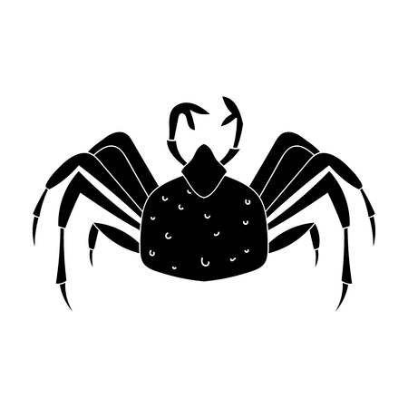 aquaculture: King crab icon in black style isolated on white background. Sea animals symbol stock vector illustration.