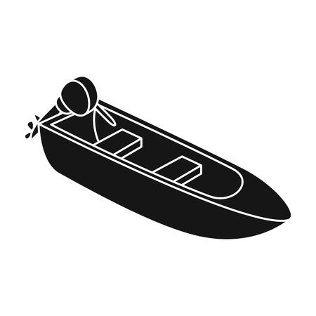 Petit bateau en métal avec moteur pour la pêche. Bateau pour la pêche de rivière ou de lac. Expédition unique de l'eau et de l'eau dans l'illustration stock du symbole vecteur style noir.