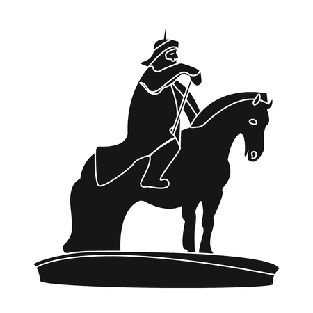 The monument to the military of Mongolia on horseback.The statue stands in Mongolia.Mongolia single icon in black style vector symbol stock illustration. Illustration