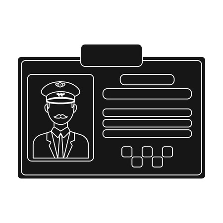 plastik: Driver document taxi.Plastik card taxi driver with photo Taxi station single icon in black style vector symbol stock illustration.