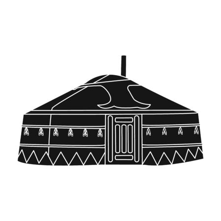 mongols: Tent in the Mongolian patterns.Mongolian tent.Housing the ancient Mongols.Mongolia single icon in black style vector symbol stock illustration. Illustration