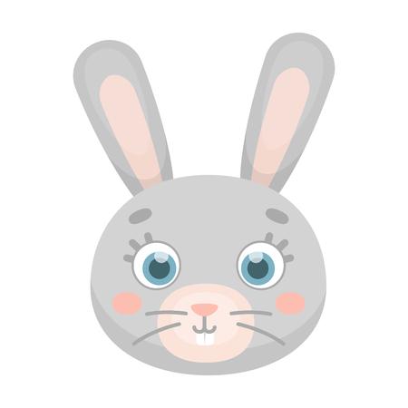 Rabbit muzzle icon in cartoon style isolated on white background. Animal muzzle symbol stock vector illustration. Illustration