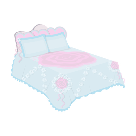 headboard: King bed with white blanket.Queen bed with pink pillows.Bed single icon in cartoon style vector symbol stock illustration. Illustration